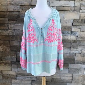 FREE PEOPLE mint and pink top